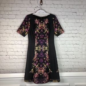Tahari Black and Floral Short Sleeve Dress